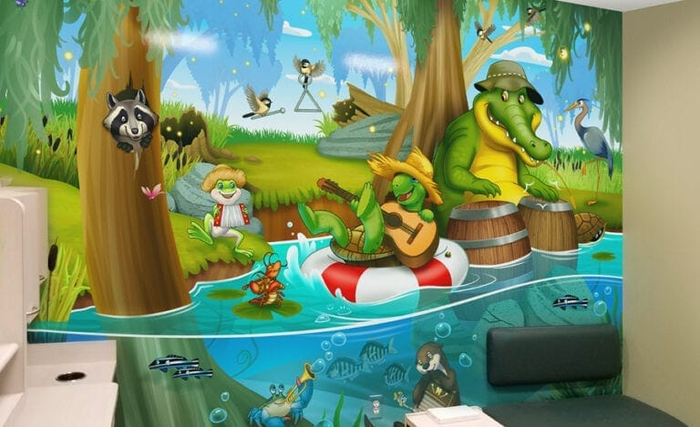 Bayou themed mural with swamp animals playing musical instruments