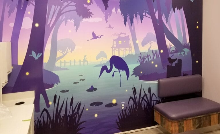 Calming bayou silhouette mural with purple, blue, and yellow tones