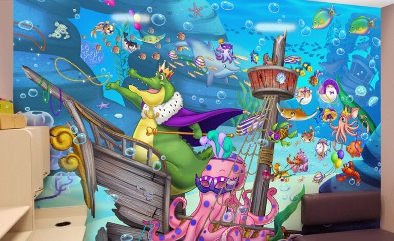 Custom 2D mural of a mardi gras parade in an underwater setting