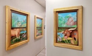 Custom made faux window decorations in a medical clinic hallway including vinyl murals