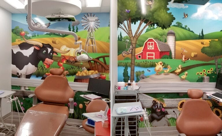 Different farmland illustrated murals with cute animals for dental treatment rooms