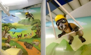 Operatory adorned with a cute hang gliding mara, mural of South American scenery and animals