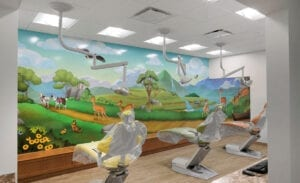 Pediatric treatment bay with wall mural featuring illustrated South American landscapes and native animals