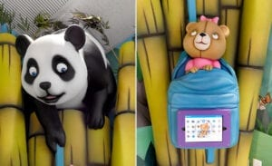 Sculpted bamboo game tablet tower with panda and client's custom teddy bear mascot