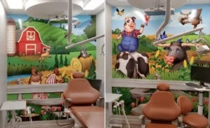 Side by side of two farm murals in a dental treatment room