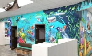 Underwater murals in a dental open bay