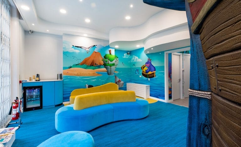 beach themed waiting area in kids dentist office