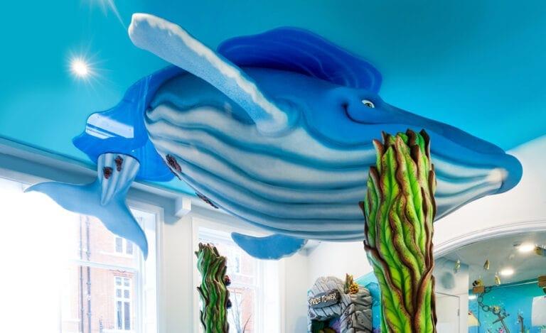 underside of humpback whale sculpture in pediatric dental office