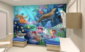 underwater wall mural in a pediatric exam room