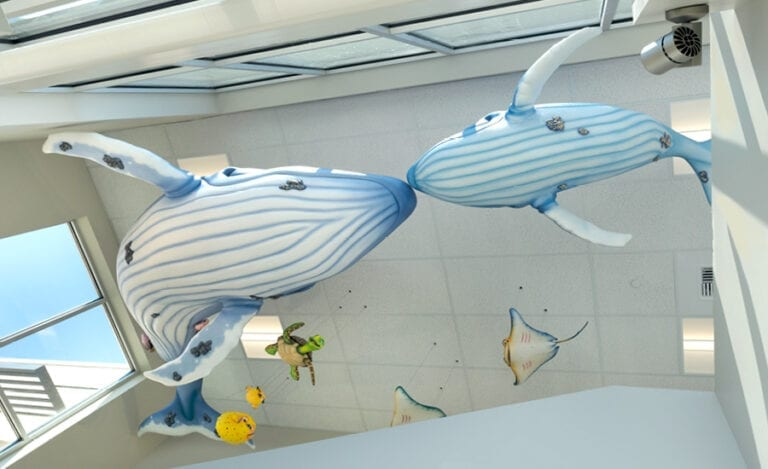 upward view of two whale sculptures in an underwater-themed medical clinic