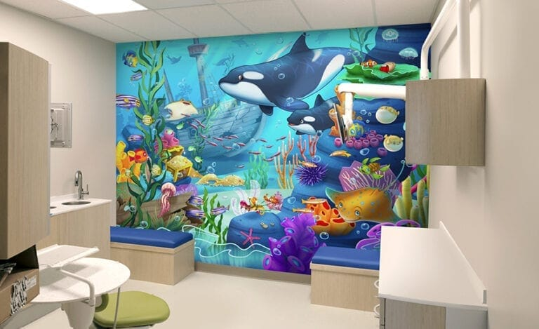 underwater wall mural in a pediatric treatment room