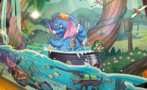 bathing elephant floating along with other scuba diving jungle animals in an i spy mural