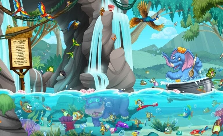 bright waterfalls and colorful underwater tropical animals swimming in a friendly mural