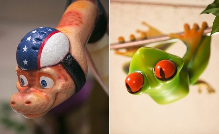 detail shots of snake and tree frog sculptures in a engaging kid friendly dentistry