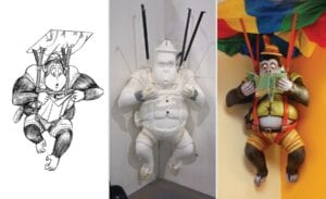 in progress photos of parachuting gorilla in a dental office stairwell