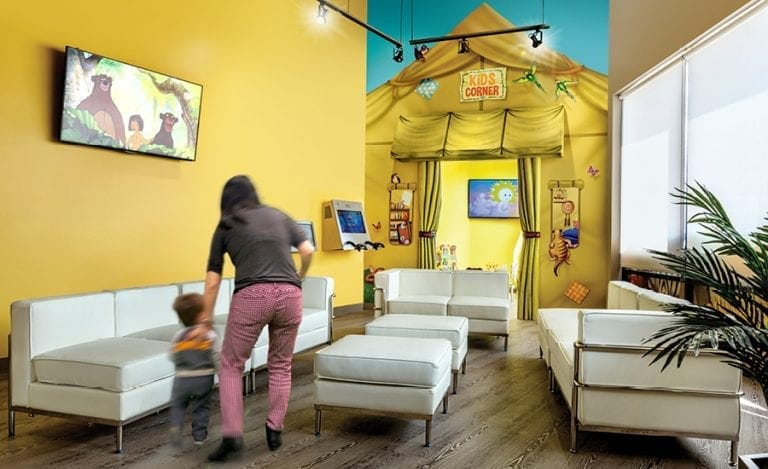 A private kids room with a safari tent mural entrance..