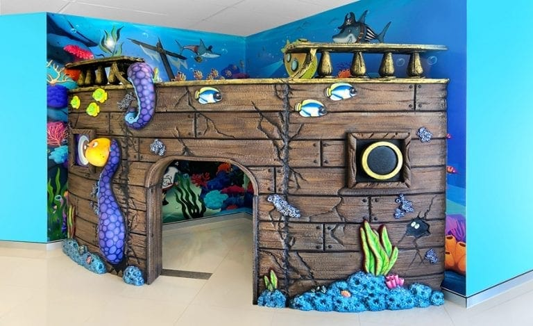 Pirate ship corner play area for kids.