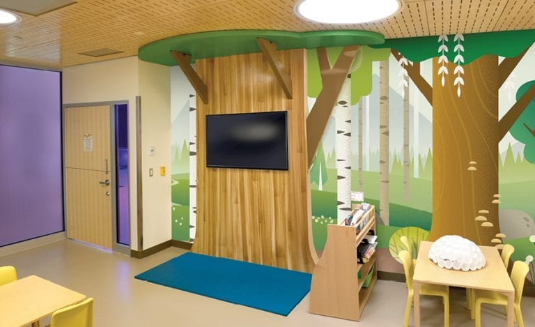 Hospital family room with contemporary woodland theming.