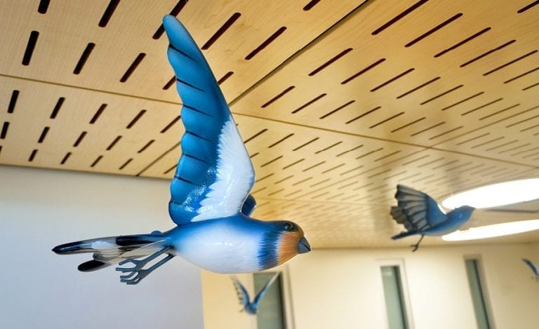 3D apoxy sculpture of a barn swallow in a children's hospital