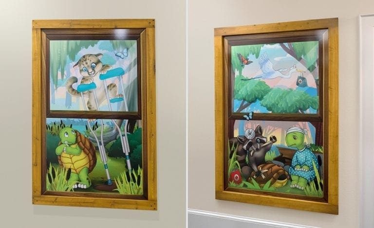 custom wall mounted faux window murals with injured turtles, raccoons, and panthers