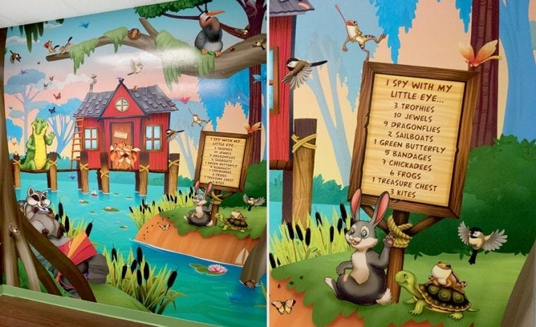 I spy wall mural with turtles, alligators, and raccoons in a pediatric medical office waiting room