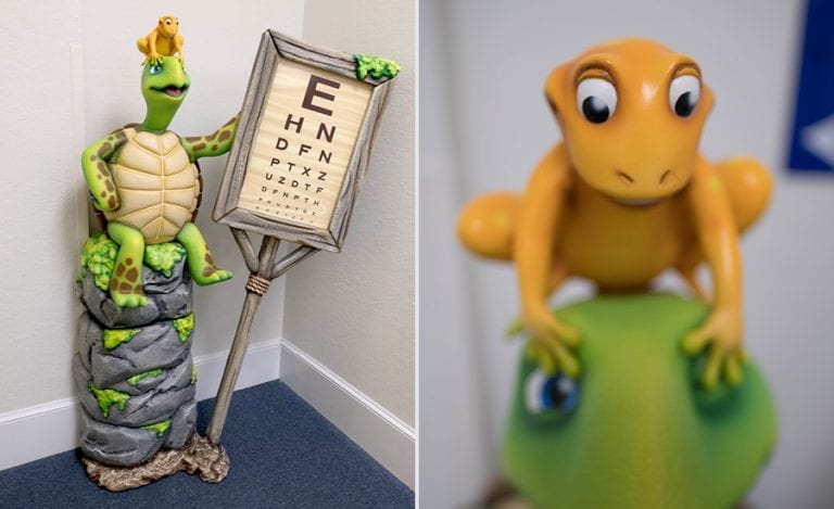 sculpted turtle and frog holding a Snellen eye chart for kids