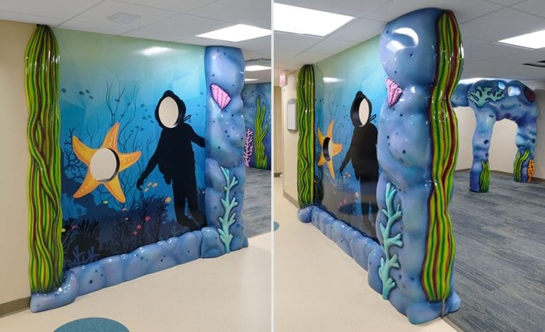 custom scuba diver and starfish photo stand in wall mural