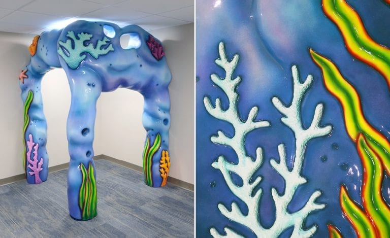 sculpted coral cave play area for children's hospital waiting room